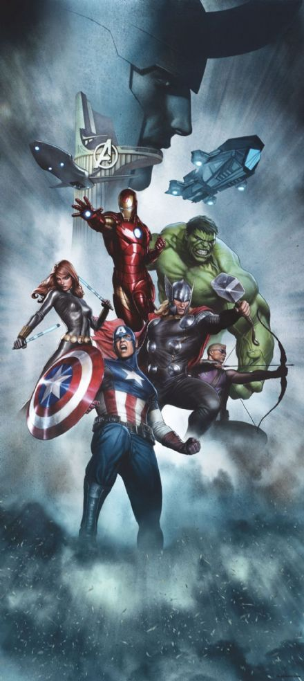 Avengers wall mural wallpaper 90x202cm Marvel